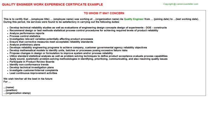 Quality Engineer Work Experience Letters