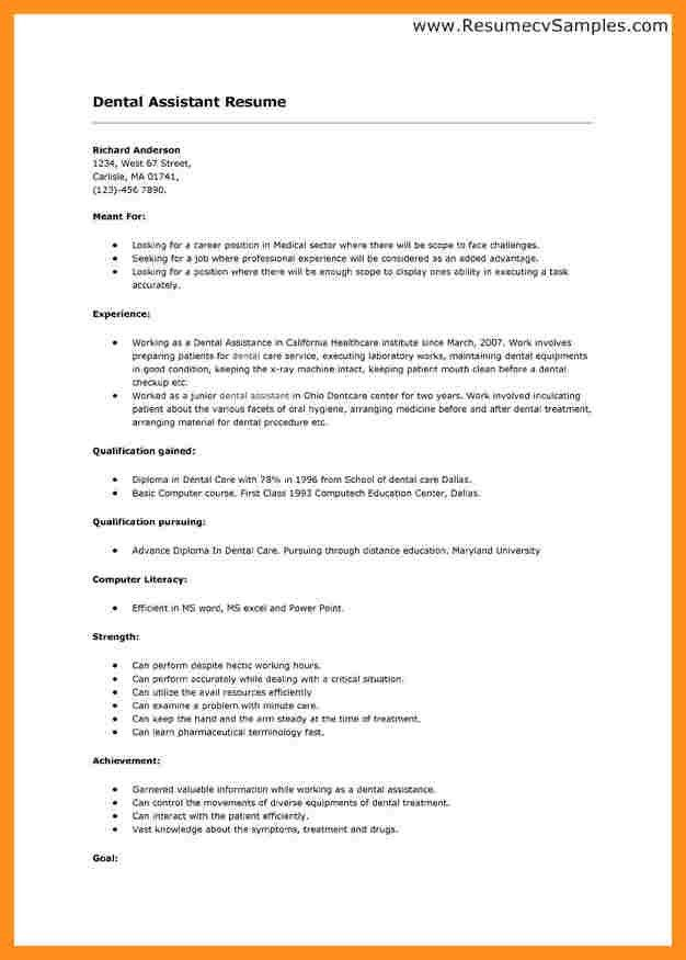 Sample resume for dental assistant position / Resume it auditor
