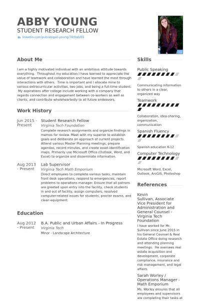 Research Fellow Resume samples - VisualCV resume samples database