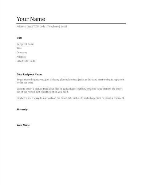 Sample Microsoft Word Cover Letter Template. Cover Letter Sample ...