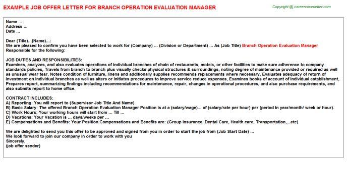 Branch Operation Evaluation Manager Offer Letter