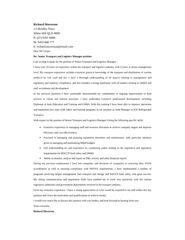 Transport and Logistics Manager Cover Letter Samples and Templates