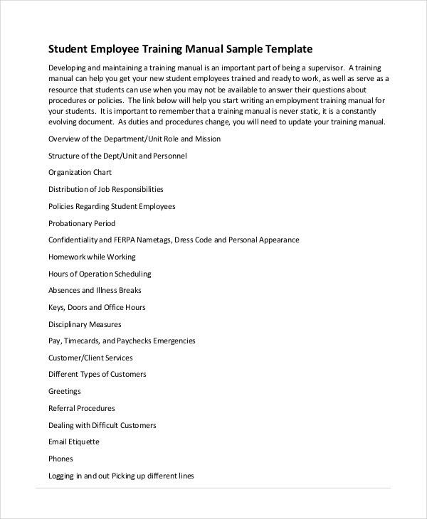 Training Manual Template - 7+ Free PDF, Word Download Documents ...