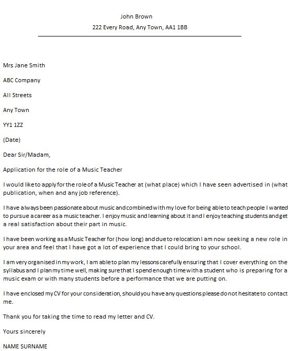 Music Teacher Cover Letter Example - icover.org.uk