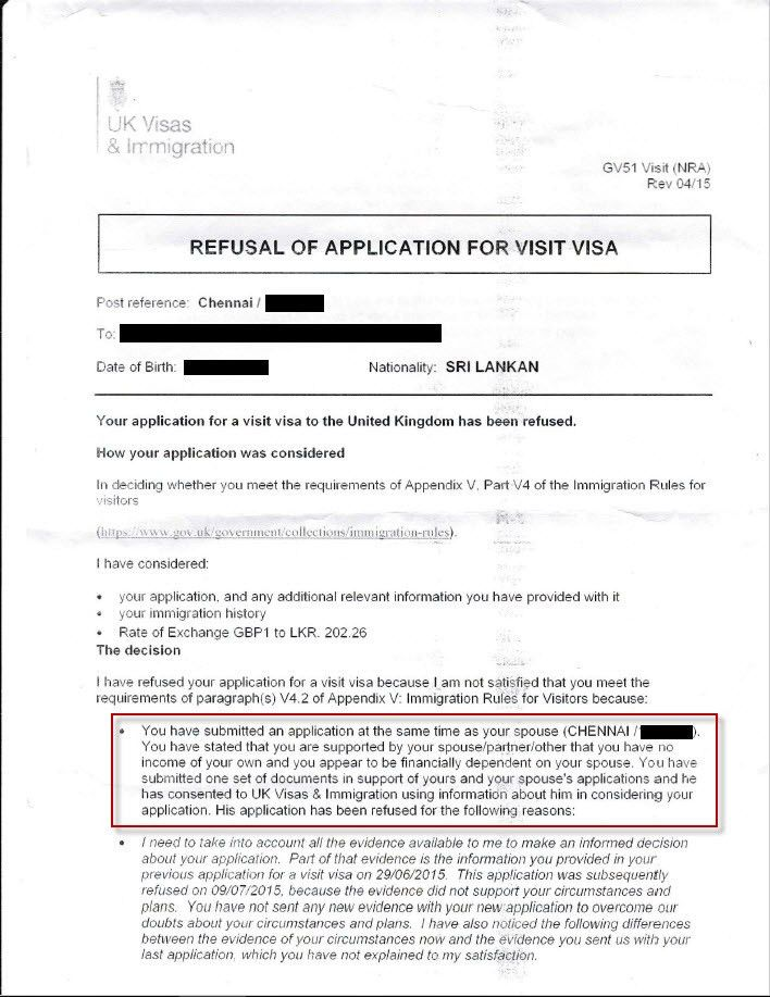 UK Visit Visa refused and false allegations stated in the refusal ...