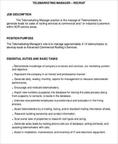 Telemarketing Job Description Template  Best Market
