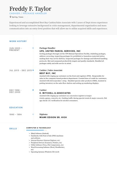 Package Handler Resume samples - VisualCV resume samples database