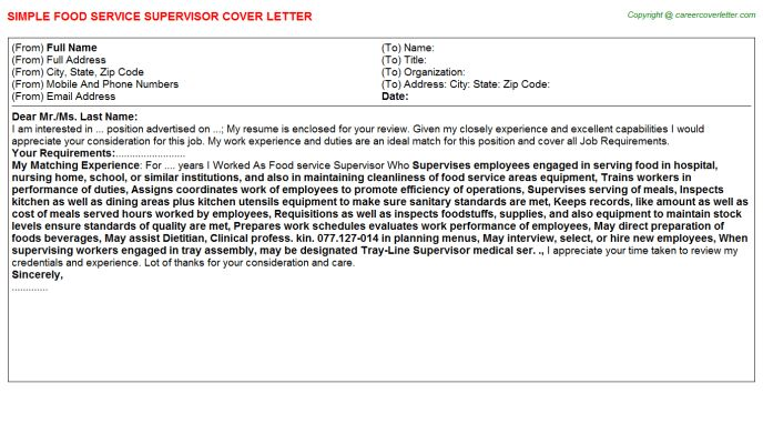 Cover letter food service