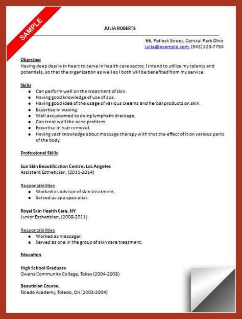 Medical Spa Esthetician Resume. professional resume cover letter ...
