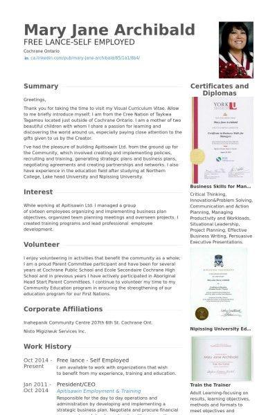 Self Employed Resume Sample | jennywashere.com