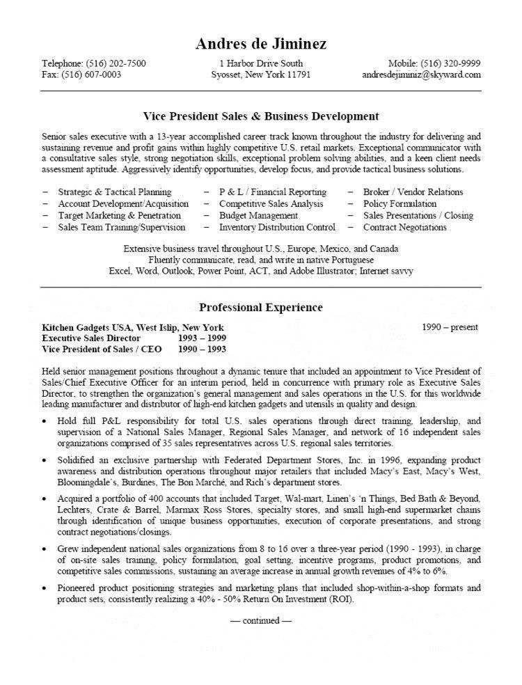 Sales & Business Development Resume