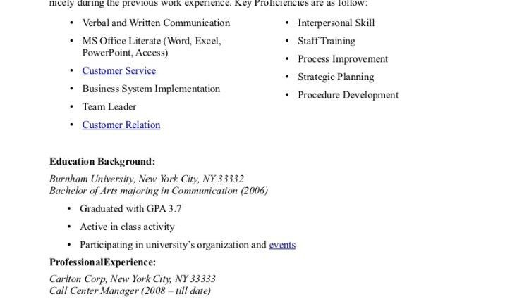 above to save call center operations manager resume example page 1 ...