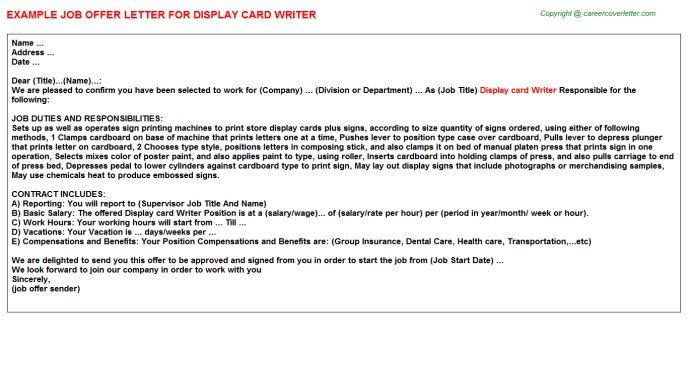 Display Card Writer Offer Letter