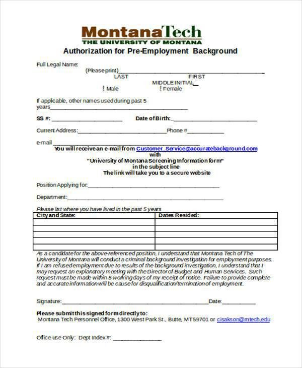 Background Check Forms. Background Check Authorization Form ...
