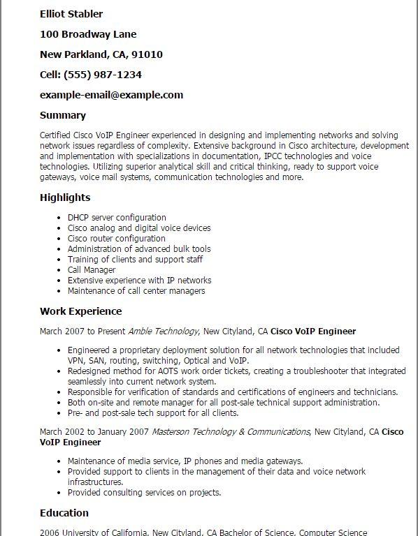 Download Cisco Customer Support Engineer Sample Resume ...