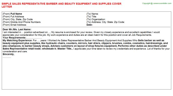 Sales Representative Barber And Beauty Equipment And Supplies ...