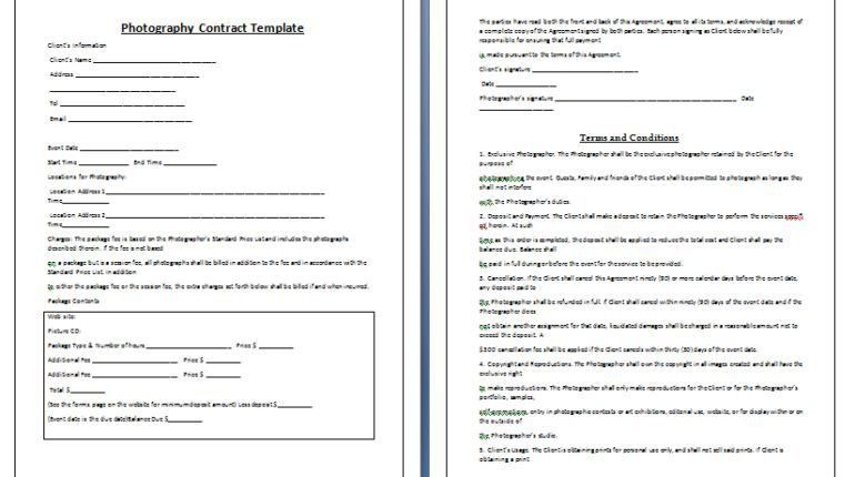 Wedding Photography Contract Template Tips Guidelines - DIY ...