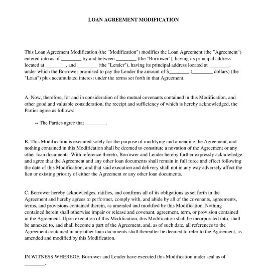 Loan Agreement Modification - Template - Word & PDF