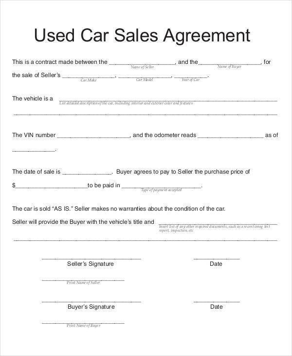 9 Car Sales Contract - Free Sample, Example, Format Download