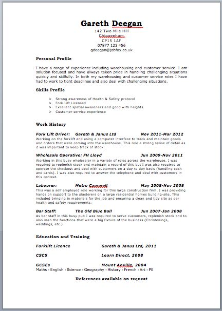 resume templates uk