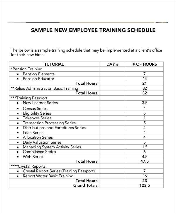 Sample training plan
