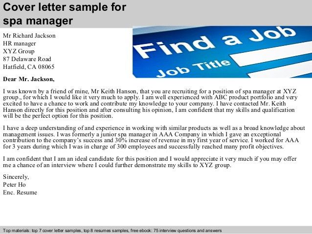 cover letter sample for spa manager. sales manager cover letter ...