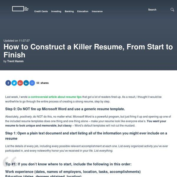 How to Construct a Killer Resume, From Start to Finish | Pearltrees