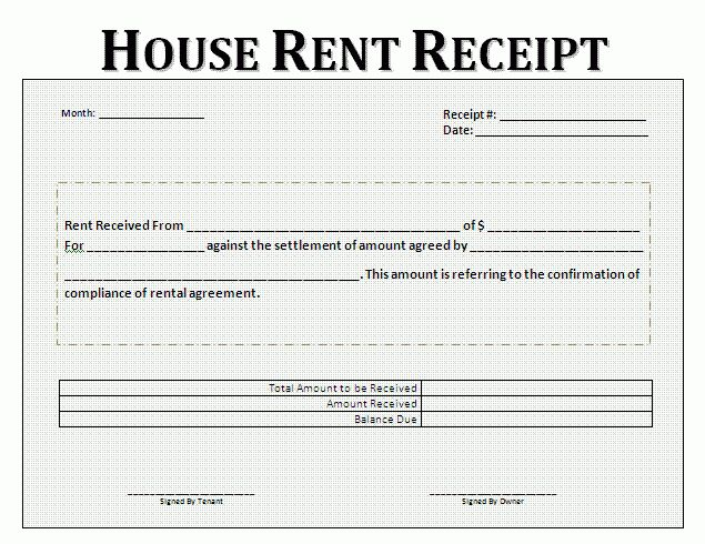 Rent Receipt Format For House and Property | Free Business Templates