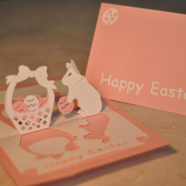 Easter Bunny and Basket Pop Up Card Template - Creative Pop Up Cards