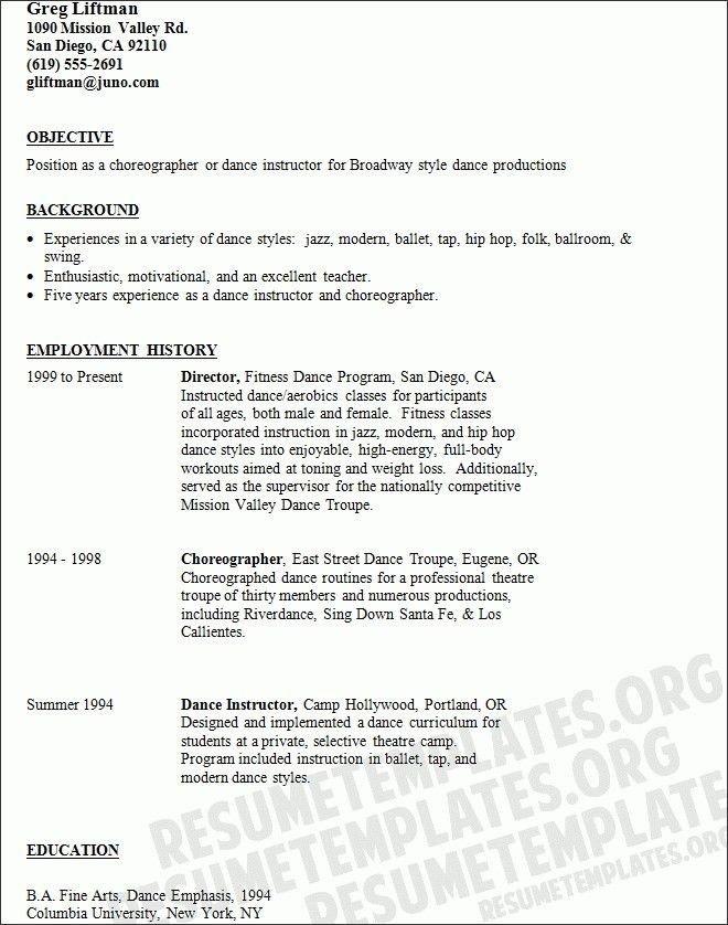 dance resume format template design