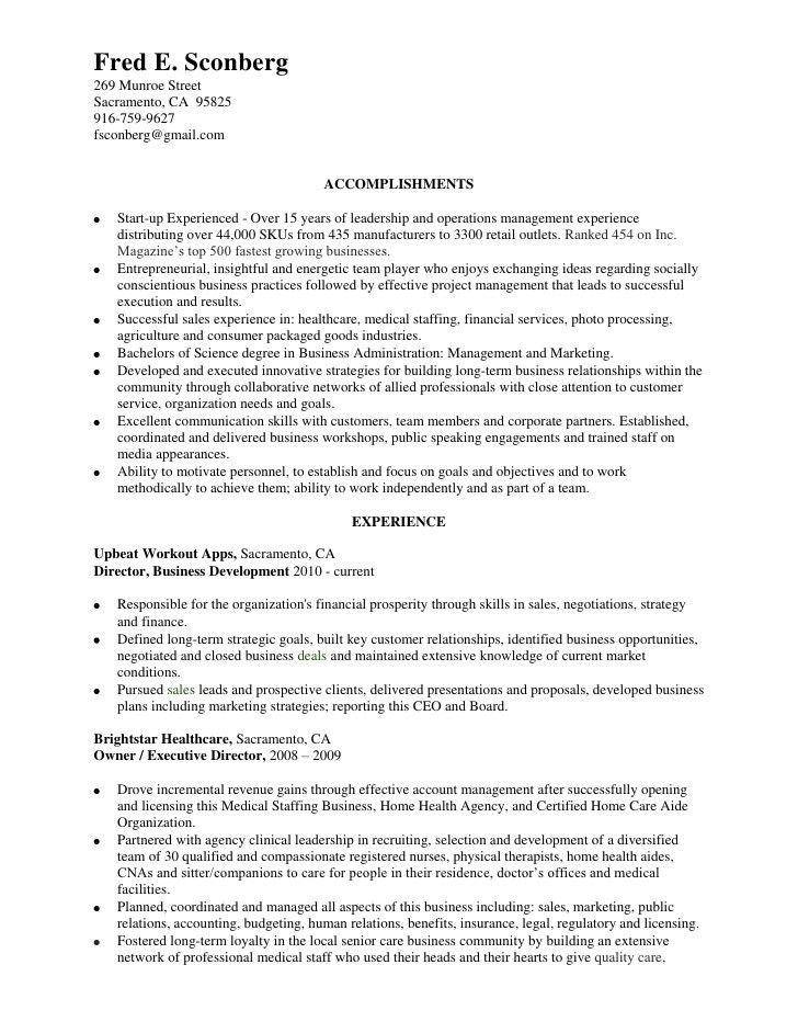 Resume, Fred Sconberg