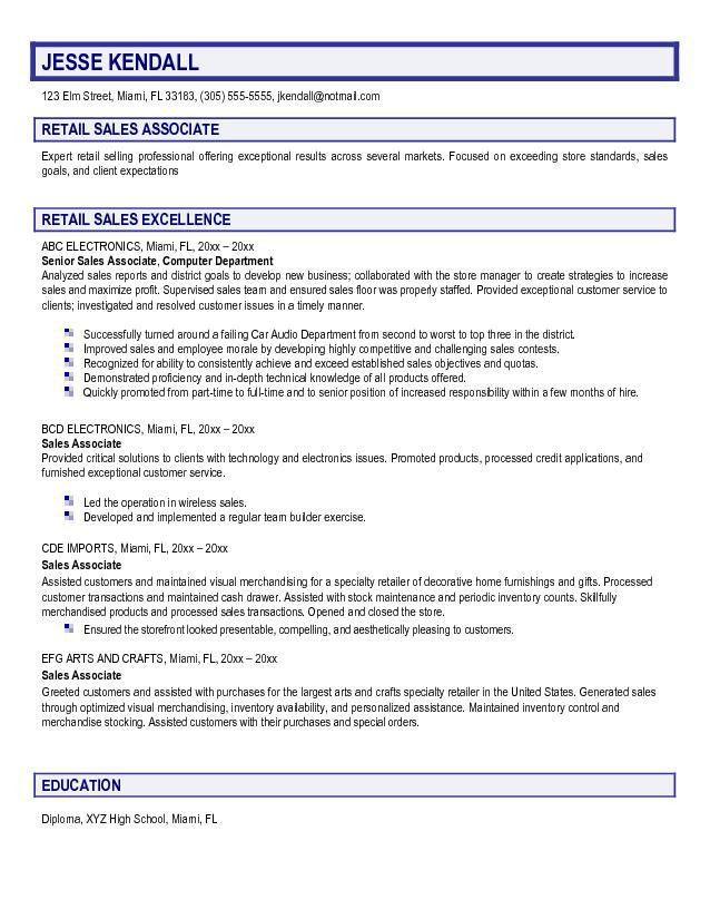 Sample Resume Of Retail Sales Associate - Gallery Creawizard.com