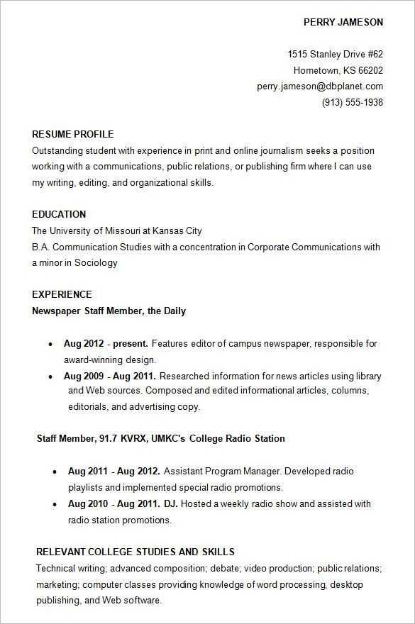 Wonderful College Resume Examples 12 Internship Resume Samples ...