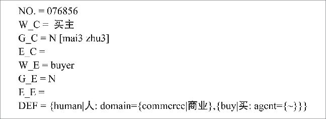 An example record in HowNet. The dictionary stores meanings and ...