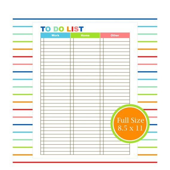 TO DO KIT printable to do list planner organizer student