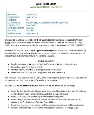 Photo Editor Job Description Sample - 7+ Examples in Word, PDF