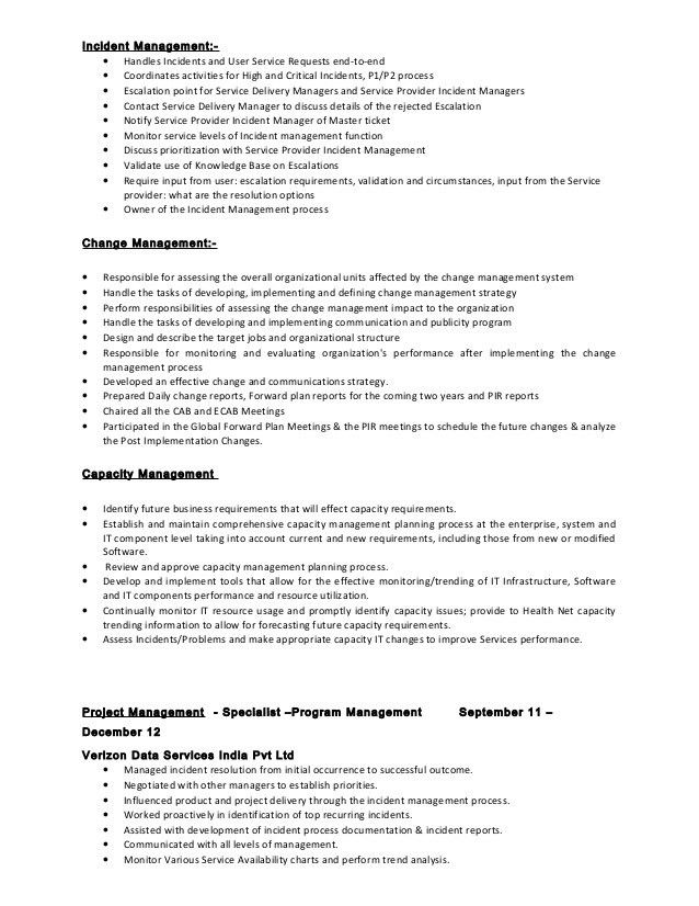 Download Incident Management Resume Sample As Image File How To