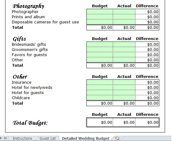 Wedding Budget Template For Excel 2013 - Excel Tmp