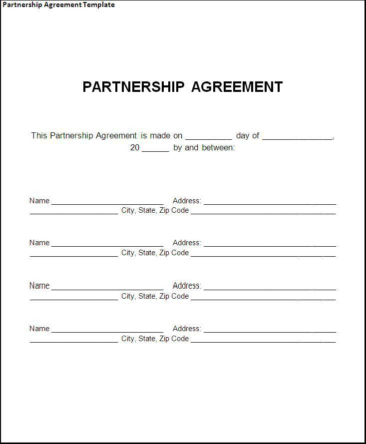Partnership Agreement Template - Word Excel PDF