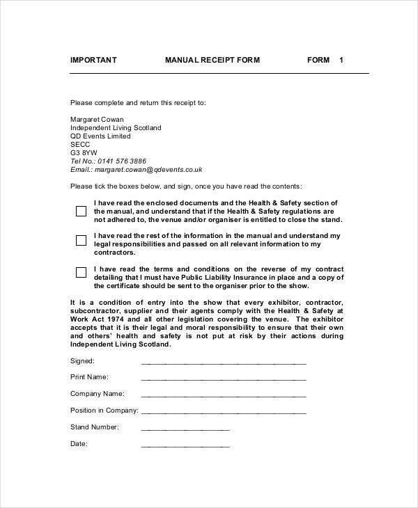 35+ Receipt Forms