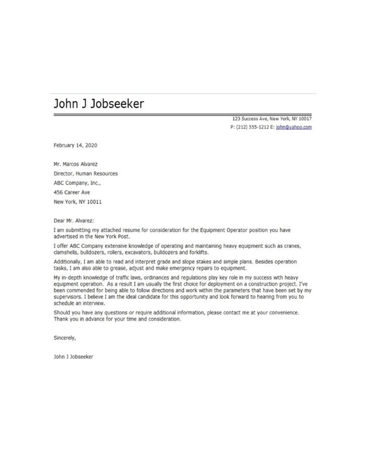 Basic Equipment Operator Cover Letter Samples and Templates