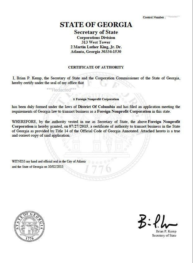 Georgia Certificate of Authority | Harbor Compliance