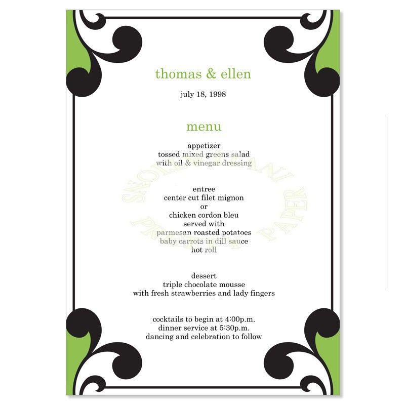 Green & Black Wedding Menu Templates - Elena Sage Do It Yourself ...
