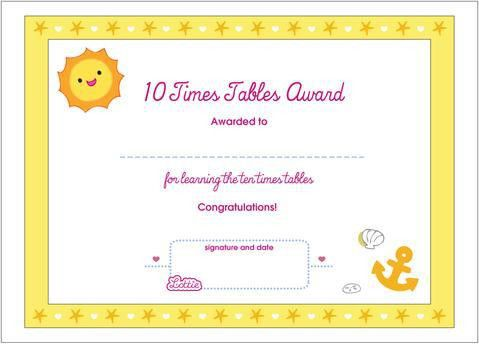 10 Times Tables Printable Award Certificate – Lottie Dolls