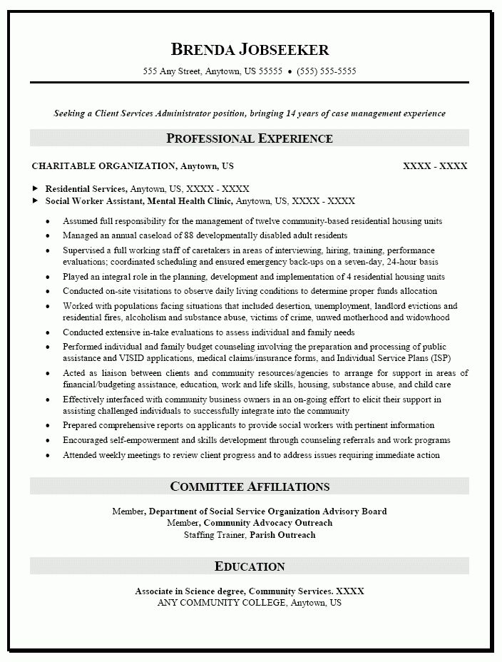 Social Work Resume Sample | berathen.Com