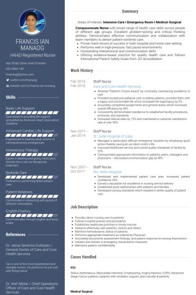 Staff Nurse Resume samples - VisualCV resume samples database
