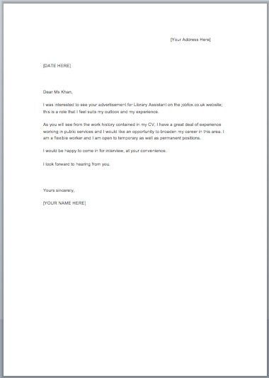 Free Sample Cover Letter For Job