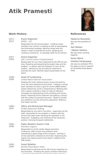Organizer Resume samples - VisualCV resume samples database