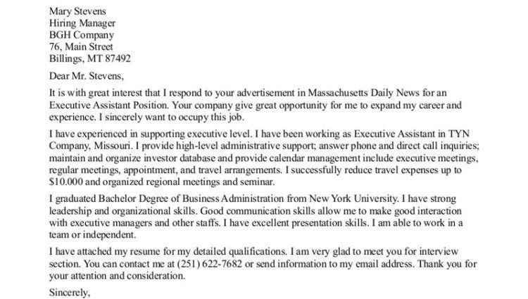 executive administrative assistant cover letter sample ...