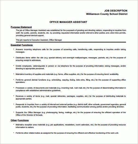 11+ Office Assistant Job Description Templates – Free, Sample ...